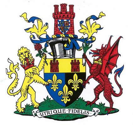 The Arms of Monmouth with a message for the Scots, the English and the Welsh!